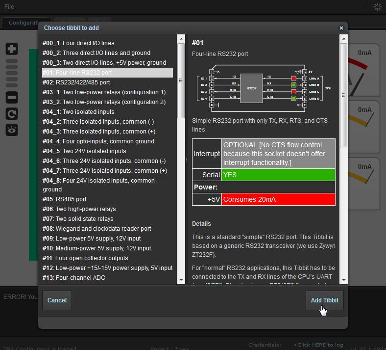 Pasul 2 - Alegeti un Tibbit din multitudinea de module existente
