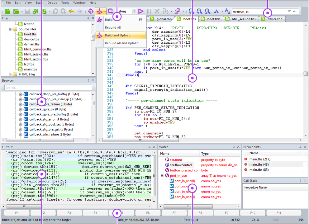 Tibbo IDE - Platforma dezvoltare software - ecran principal