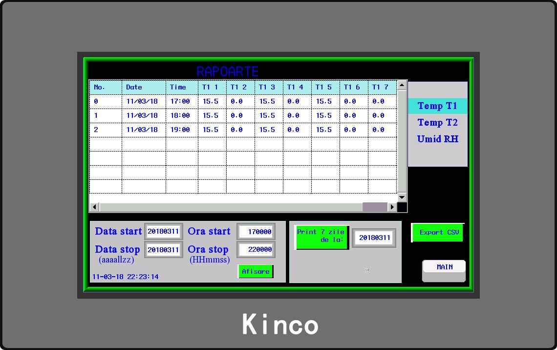 HMI - Ecran raport temperatura
