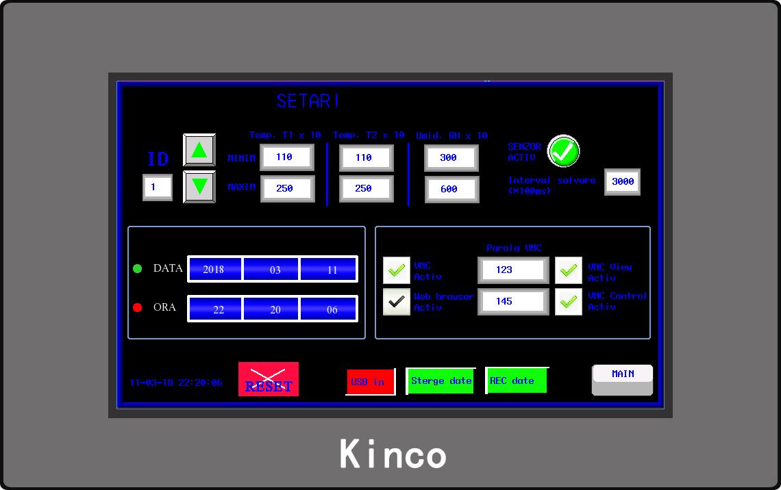 Ecran setari HMI monitorizare de la distanta
