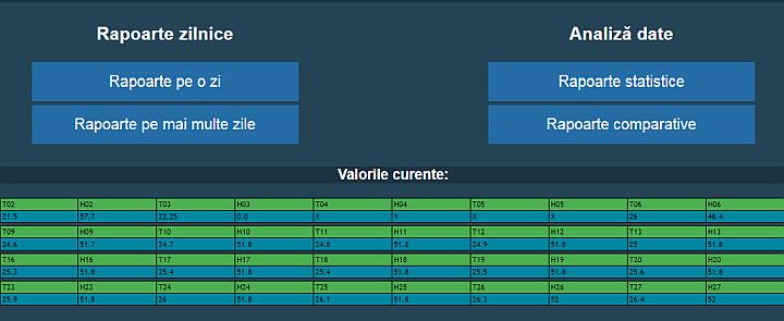 Monitorizare temperatura si umiditate - vizualizare date din cloud - ecran principal